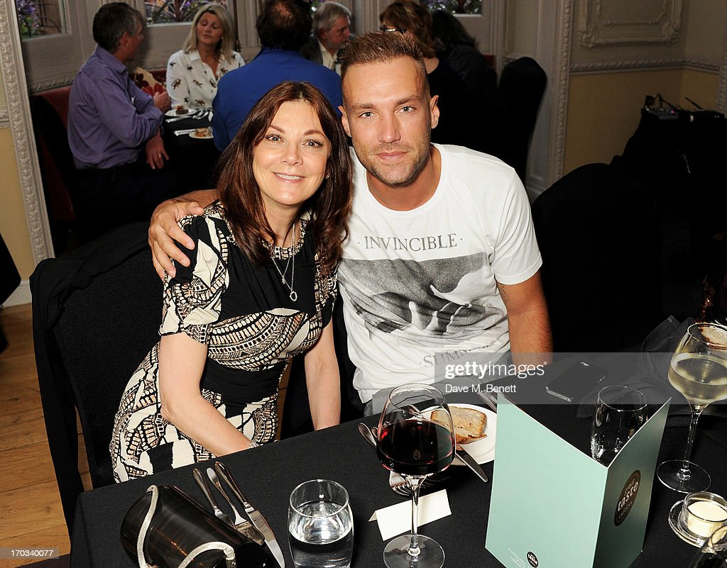 Susan Young (L) and Calum Best attend a private dinner previewing the new 'Alex James Presents' Blue Monday cheese at The Cadogan Hotel on June 11, 2013 in London, England.
