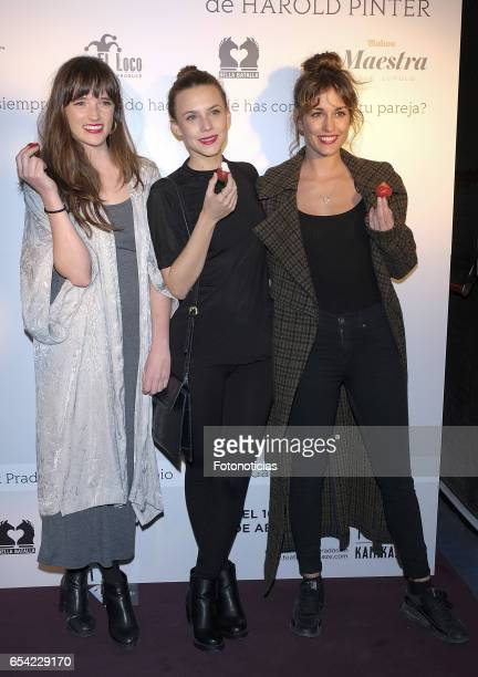 Susana Abaitua Aura Garrido and Silvia Alonso attends 'El Amante' press night at Pavon Kamikaze Theatre on March 16 2017 in Madrid Spain