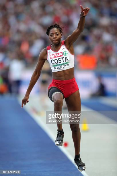 Susana Costa of Portugal competes in the Women's Triple Jump Final during day four of the 24th European Athletics Championships at Olympiastadion on...