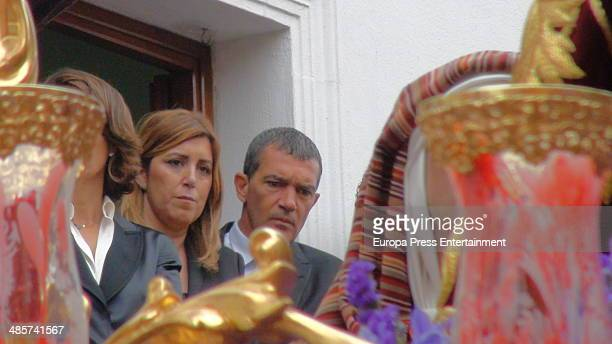Susana Diaz and Antonio Banderas attend procesion during Holy Week celebration on April 17 2014 in Seville Spain