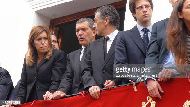 Susana Diaz Antonio Banderas and Javier Banderas attend procesion during Holy Week celebration on April 17 2014 in Seville Spain