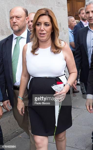 Susana Diaz attends the funeral chapel for Pedro Zerolo at Casa de la Villa on June 9 2015 in Madrid Spain