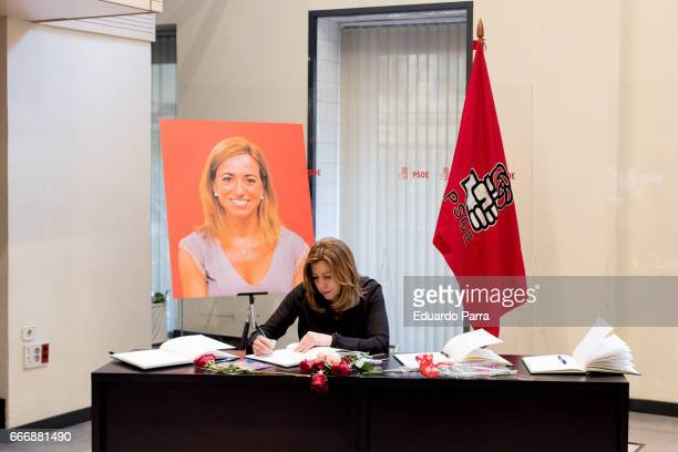Susana Diaz attends the Funeral Chapel for socialist politician Carme Chacon at PSOE headquarters on April 10 2017 in Madrid Spain Carme Chacon died...
