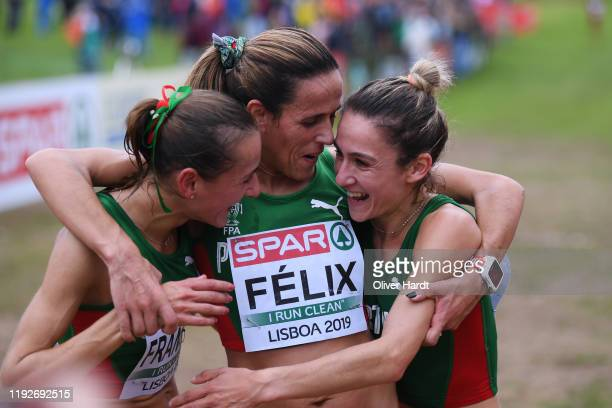 Susana Francisco Dulce Felix and Carla Salome Rocha of Portugal reacts after the Senior Women final race of the SPAR European Cross Country...
