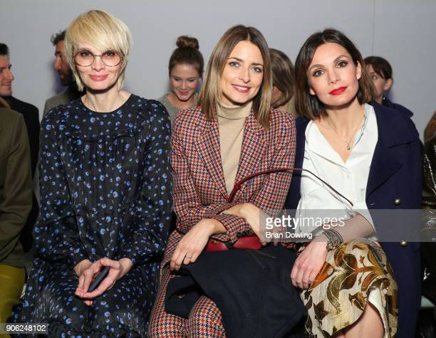 Susann Atwell Eva Padberg and Nadine Warmuch attend the Odeeh Defile during 'Der Berliner Salon' AW 18/19 on January 17 2018 in Berlin Germany