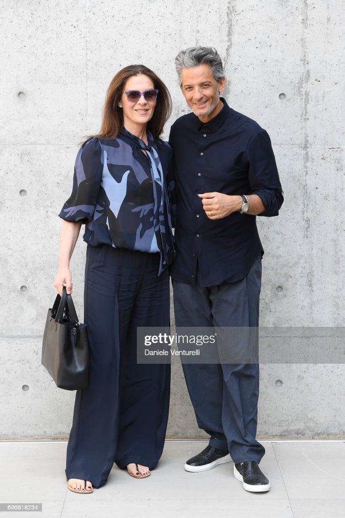 Susanna Biondo and Rosario Fiorello attend the Emporio Armani show during Milan Men's Fashion Week Spring/Summer 2018 on June 17, 2017 in Milan, Italy.