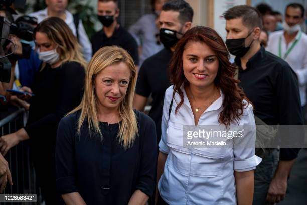 Susanna Ceccardi of Lega political party and Giorgia Meloni Fratelli dItalia leader attend the closure event of the rightwing regional election...