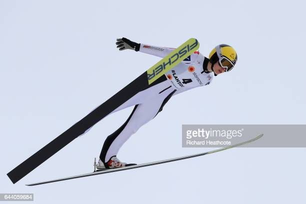 Susanna Forsstroem of Finland makes a practice jump prior to the Women's Ski Jumping HS100 qualification rounds during the FIS Nordic World Ski...