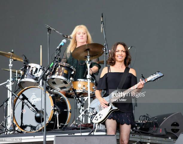 Susanna Hoffs and Debbi Peterson of The Bangles perform in concert during the 2019 KAABOO Del Mar at Del Mar Race Track on September 15 2019 in Del...