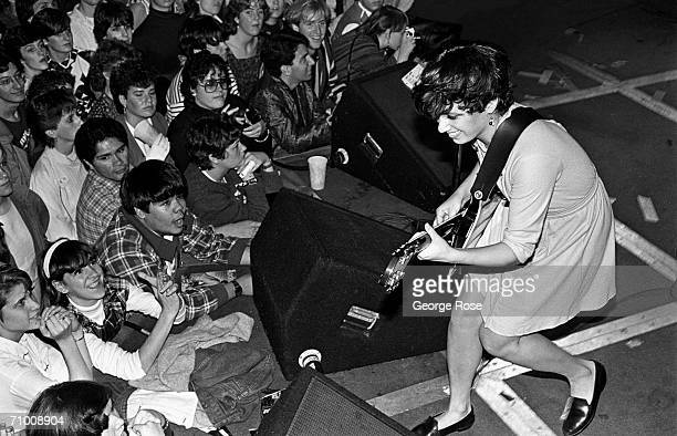 Susanna Hoffs guitarist with the allgirl band The Bangles performs onstage during a 1981 concert at The Roxy in West Hollywood California The Roxy...