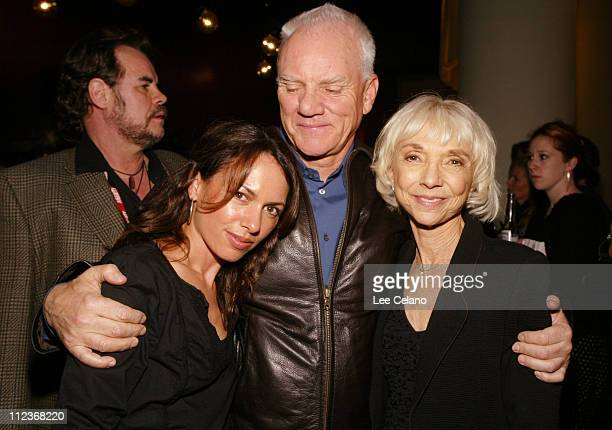 Susanna Hoffs Malcolm McDowell and Tamar Hoffs during Red Roses and Petrol AFI Fest World Premiere Party at Arclight Cinemas in Hollywood California...