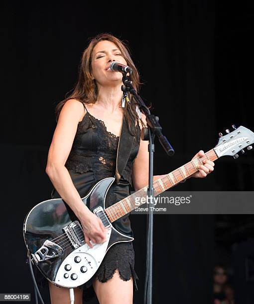 Susanna Hoffs of The Bangles performing live at the Cornbury Music Festival Oxfordshire UK on July 05 2008