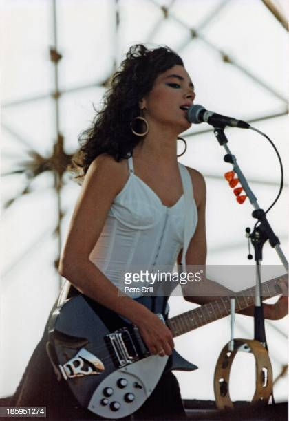 Susanna Hoffs of The Bangles performs on stage at Milton Keynes Bowl on June 21st 1986 in Buckinghamshire England Photo by Peter Still/Redferns