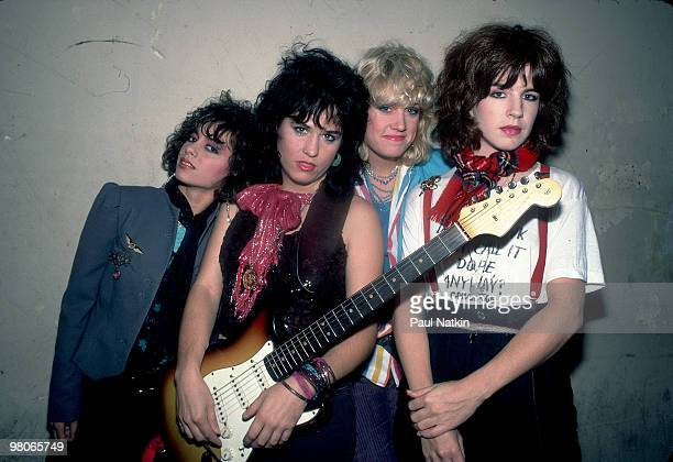 Susanna Hoffs Vicki Peterson Debbi Peterson and Michael Steele of The Bangles on 10/16/84 in Chicago Il