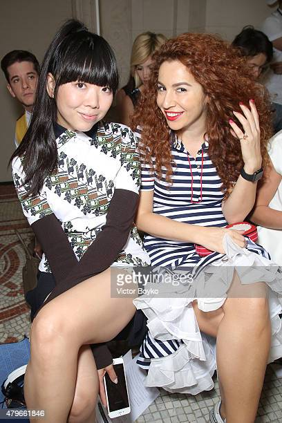 Susanna Lau AKA Susie Bubble and Natasha Zinko attend the Dice Kayek show as part of Paris Fashion Week Haute Couture Fall/Winter 2015/2016 on July 6...