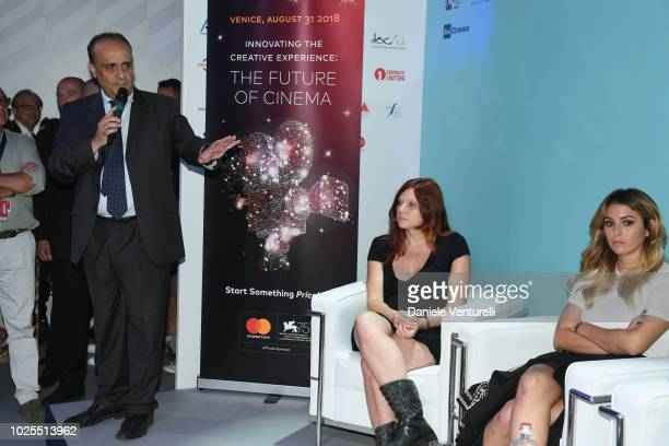 Susanna Nicchiarelli Blanca Suarez and Alberto Bonisoli attend Innovating The Creative Experience The Future Of Cinema during the 75th Venice Film...