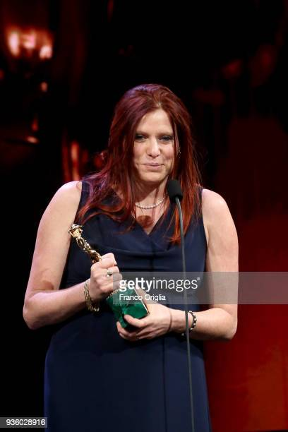 Susanna Nicchiarelli receives Best Original Screenplay Award during the 62nd David Di Donatello awards ceremony on March 21 2018 in Rome Italy