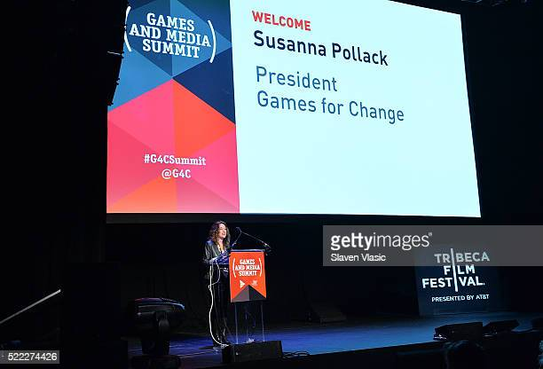 Susanna Pollack G4C President attends Games For Change Games Media Summit 2016 Tribeca Film Festival at Spring Studios on April 18 2016 in New York...