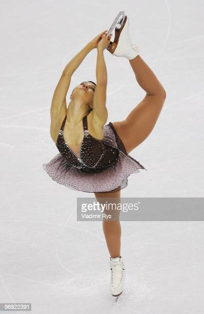Susanna Poykio of Finland performs during the women's Free Skating program of figure skating during Day 13 of the Turin 2006 Winter Olympic Games on...