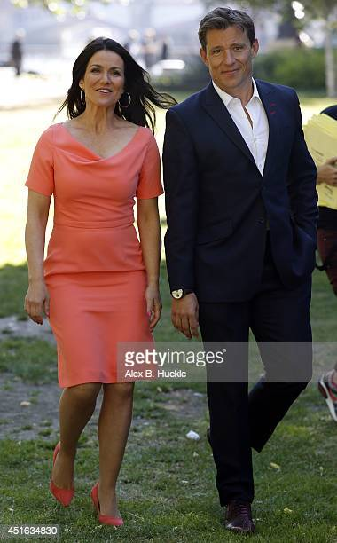 KINGDOM JULY Susanna Reid and Ben Shepard seen on the Southbank during filming 'Good Morning Britain' at the ITV Studios on July 3 2014 in London...