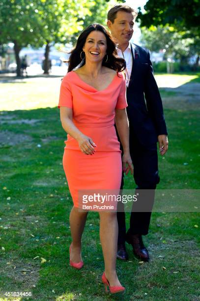 Susanna Reid and Ben Shephard sighted filming on the Southbank on July 3 2014 in London England