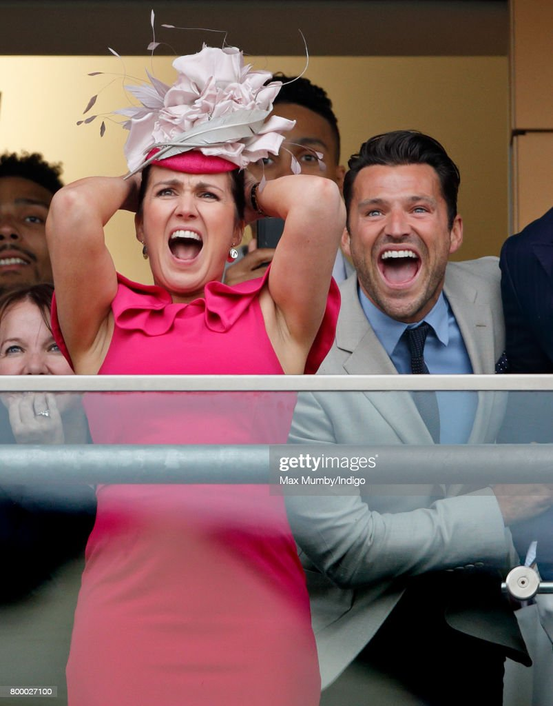 Susanna Reid and Mark Wright watch the Gold Cup as they attend day 3, Ladies Day, of Royal Ascot at Ascot Racecourse on June 22, 2017 in Ascot, England.