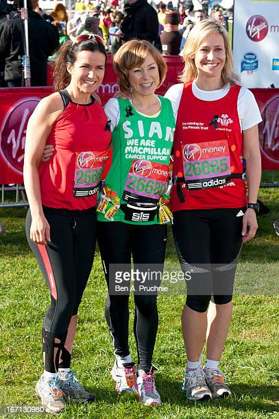 Susanna Reid Sian Williams and Sophie Raworth pose for photographs ahead of the Virgin London Marathon on April 21 2013 in London England