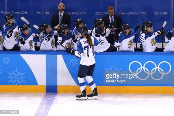 Susanna Tapani of Finland celebrates with teammates after scoring in the second period against Olympic Athletes from Russia during the Women's Ice...