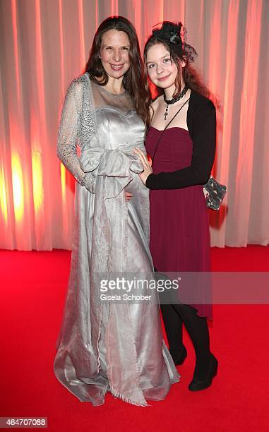 Susanna Wellenbrink pregnant and her daughter Mia Sophie Wellenbrink during the Goldene Kamera 2015 reception on February 27 2015 in Hamburg Germany
