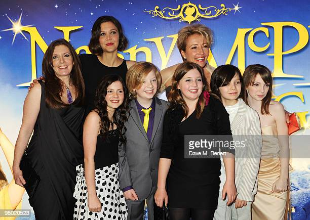 LR Susanna White Lil Woods Maggie Gyllenhaal Oscar Steer Rosie Taylor Ritson and Emma Thompson arrive at the 'Nanny McPhee And The Big Bang' world...