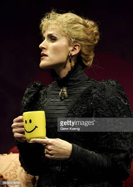 Susannah Schulman as Hedda Gabler during a scene from the stage play The Further Adventures of Hedda Gabler a play about what happens to the...