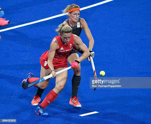 Susannah Townsend in action for Great Britain during the Women's Hockey Gold medal match between The Netherlands and Great Britain on Day 14 of the...