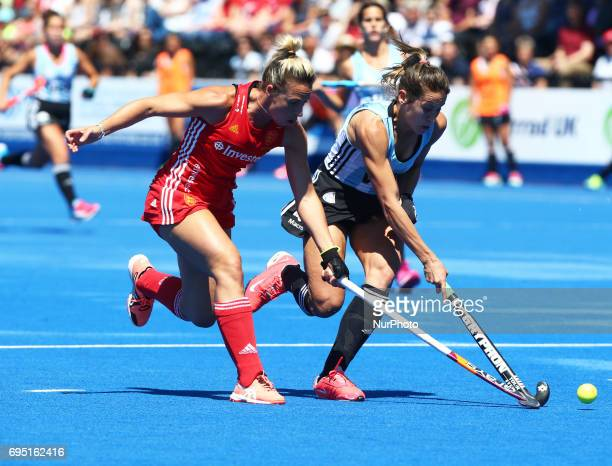 LR Susannah Townsend of England and Martina Cavallero of Argentina during the Investec International match between England Women and Argentina Women...