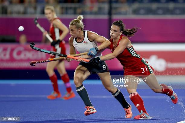 Susannah Townsend of England and Xenna Hughes of Wales contest the ball during their Womens Hockey match between England and Wales on day two of the...