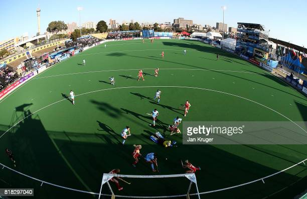 Susannah Townsend of England attempts a shot at goal during day 6 of the FIH Hockey World League Women's Semi Finals quarter final match between...