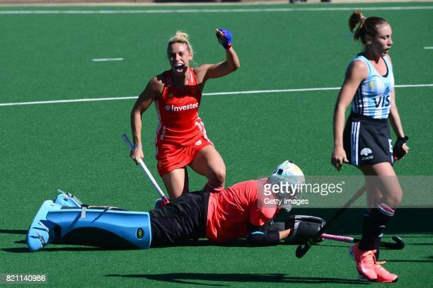 Susannah Townsend of England celebrates her goal during day 9 of the FIH Hockey World League Women's Semi Finals 3rd4th place match between England...