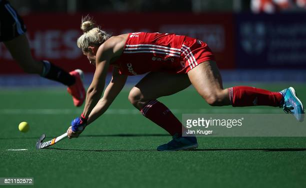 Susannah Townsend of England scores the second goal during day 9 of the FIH Hockey World League Women's Semi Finals 3rd/ 4t place match between...