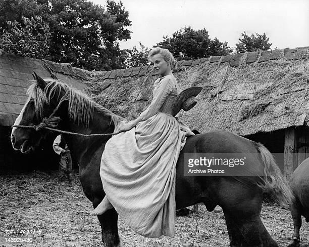 Susannah York on horseback in a scene from the film 'Tom Jones' 1963