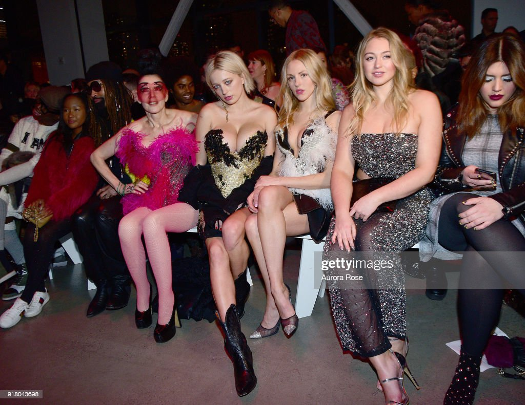Susanne Barsch, Caroline Vreeland, and Shay Marie sit front row at The Blonds Runway show during New York Fashion Week at Spring Studios on February 13, 2018 in New York City.