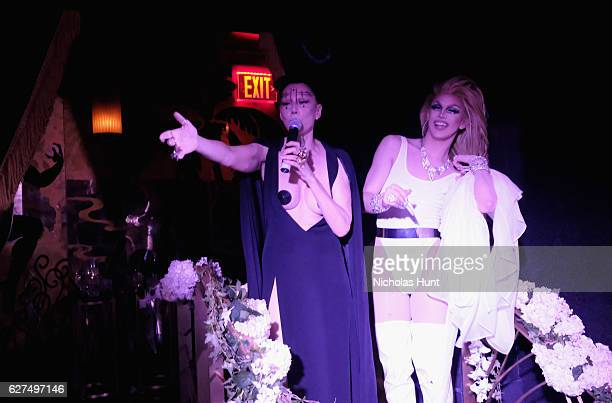 Susanne Bartsch and Aquaria attend the August Getty 305 cocktail party with hosts August Getty and Susanne Bartsch at Saxony Bar at the Faena Hotel...