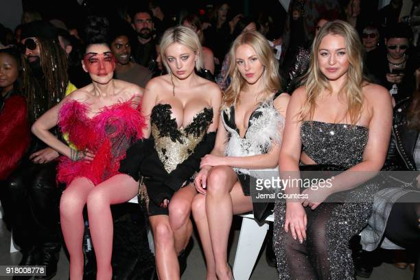Susanne Bartsch Caroline Vreeland Shea Marie and Iskra Lawrence attend The Blonds front row during New York Fashion Week The Shows at Gallery I at...