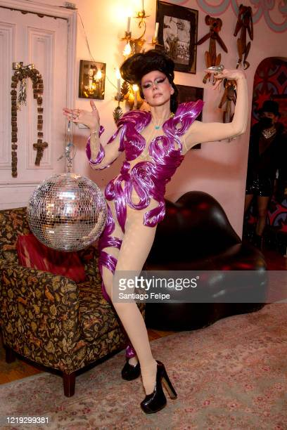 Susanne Bartsch does a twirl at home while she hosts her 'ONTOP' ONLINE party via ZOOM on April 16 2020 in New York City