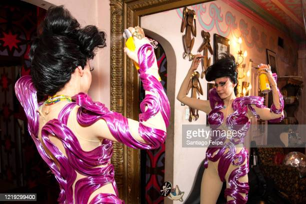 Susanne Bartsch gets ready at home before her 'ONTOP' ONLINE party via ZOOM on April 16 2020 in New York City