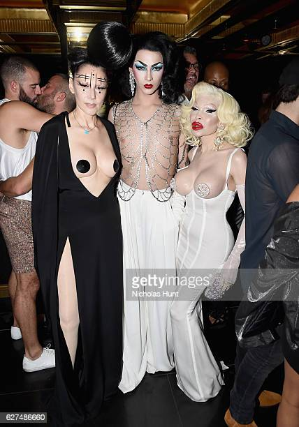 Susanne Bartsch Violet Chachki and Amanda Lepore attend the August Getty 305 cocktail party with hosts August Getty and Susanne Bartsch at Saxony Bar...