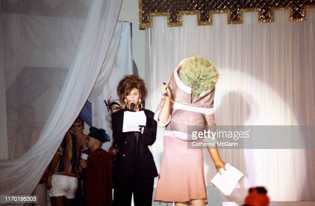 Susanne Bartsch's Love Ball 2 at the Roseland Ballroom in May 1991 in New York City, New York. Pictured L-R: Sandra Bernhard and Leigh Bowery.