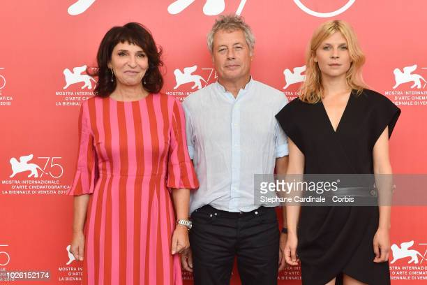 Susanne Bier Jury Members Alessandro Baricco and Clemence Poesy attend Venice Virtual Reality Jury photocall during the 75th Venice Film Festival at...
