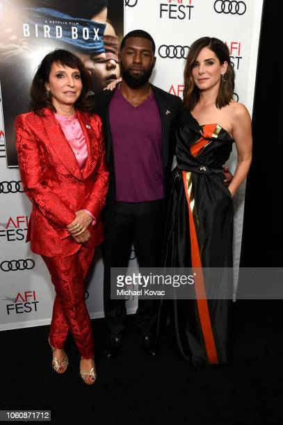 Susanne Bier Trevante Rhodes and Sandra Bullock attend the gala screening of 'Bird Box' during AFI FEST 2018 on November 5 2018 in Los Angeles...