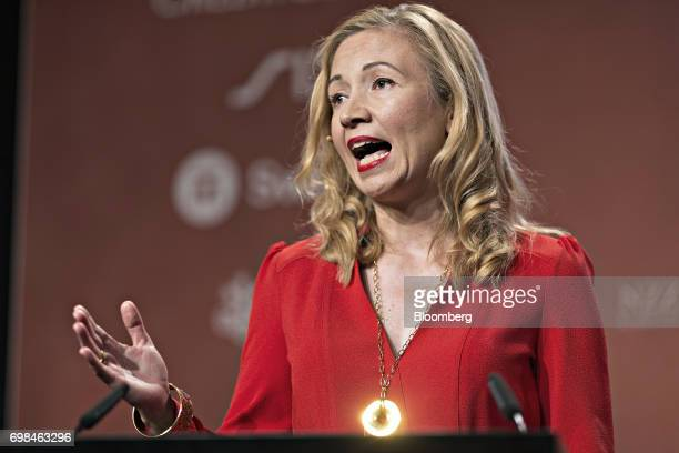 Susanne Chishti founder and chief executive officer of FINTECH Circle speaks during the Swiss International Finance Forum in Bern Switzerland on...