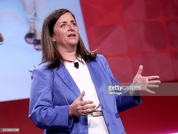 Susanne Daniels Global Head of Original Content YouTube speaks at the industry keynote during VidCon at the Anaheim Hilton on June 23 2016 in Anaheim...