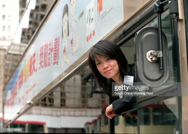 Susanne Ho Head of Corporate Communications Department at the Kowloon Motor Bus Co Ltd poses for a photo at the press conference for the launch of...